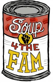 a drawing of a can of soup in a Campbells andy Warhol style labeled