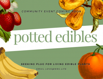 potted edibles; seeking plug for living edible plants community event coming soon; email love@wrc.life